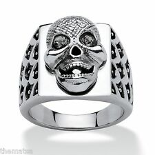 MENS SKULL STAINLESS STEEL SILVER RING GREY CRYSTAL EYES  SIZE 9 10 11 12 13