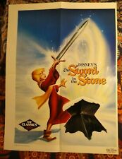 DISNEY'S THE SWORD IN THE STONE Folded Movie Rental Store POSTER Promo 1986 WALT