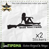 SIZE MATTERS sticker decal cutout hunting gun fun car truck bumper window jeep