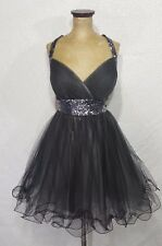 MAY QUEEN COUTURE Short Formal Pageant, Prom, Homecoming Dress 12 Black Gunmetal