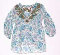 Calypso St Barth Blue Silk Floral Embroidered Sheer Tunic Blouse Top Size XS