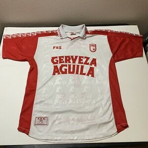 Vintage Cerveza Aguila Santa Fe Soccer Futbol Jersey FSS Sleeve Print Men's XL
