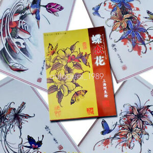 A4 Butterfly & Flowers Tattoo Art  Design Flash Manuscript Sketch Book Reference