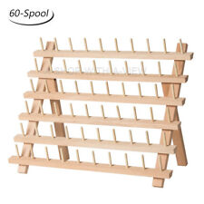 60 Spools Wood Sewing Thread Rack Stand Organizer Embroidery Storage Holder