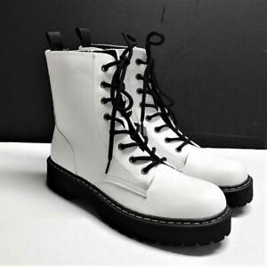 Sincerely Jules Harley Women 9M Lace Up Combat Boots White Faux Leather Vegan
