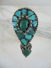 Antique Late 19c Tibet Men's Earring Turquoise Silver