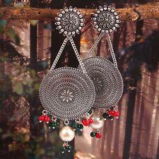 Oxidized Silver Plated Multi-color Big Jhumka Jhumki Earrings jewelry women #MLT