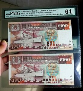 A Pair of 1992 Singapore Ship $100 Hu Tsu Tau Sign Segmented Security UNC PMG 64
