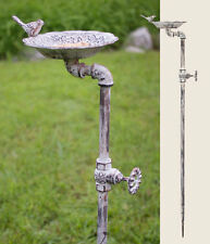 Primitive/Farmhouse/Cotta ge/Country Iron Garden Stake Bird Bath Feeder
