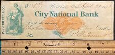 1873  **P. J. TURNER & COMPANY**  WORCESTER, MASS. $336.98 BANK CHECK+VIGNETTES!