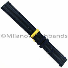 18mm Milano Genuine Leather Double Padded Stitched Navy Watch Band Strap