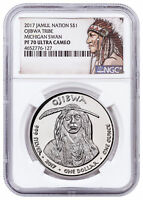 2017 Native Silver Dollar MI Ojibwa - Swan 1 oz Silver NGC PF70 UC SKU52758
