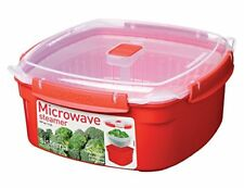 Sistema Microwave Large Steamer with Removable Steamer Basket, 3.2 L - Red Clear