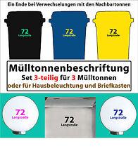 3x Hausnummer + Str. für Mülltonne Aufkleber Briefkasten Mülltonnen Komposttonne