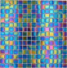 Glasmosaik Mosaikfliesen Perlmutt Iridium schwarz bunt Gloss Küchenwand 10Matten