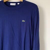 Mens Lacoste Jumper Size Large Blue Crew Neck Lightweight Sweatshirt Pullover