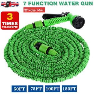 Long Expandable Magic Garden Hose Pipe Flexible 75 100 150 FT W/ Spray Gun UK