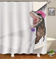 "3D Printing Dinosaur Shower Curtain Waterproof Fabric Bath Decor + Hooks 72""x72"""