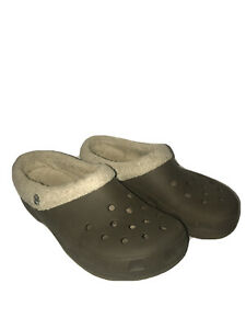 Crocs Mammoth Men's Fleece Lined Clogs Oatmeal Taupe Shoes Slip On 11