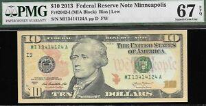 2013 $10 Fr. 2042-I Minneapolis FRN PMG 67 EPQ