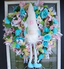 Darling Blue Garden Gnome Spring Floral Deco Mesh Front Door Wreath, Home Deco