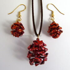 real redwood cone pendant and earring set iridescent copper-real leaf jewellery
