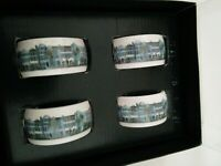 Vintage R.Row porcelain building Napkin Rings 2021 Set of 4  #897 New without T