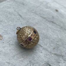 More details for victorian multi gem 9ct gold orb pendant/charm, antique good sphere- ball