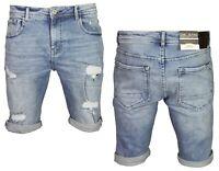 DML Ikos Men's Denim Shorts Distressed Stretch Ripped Half Jeans Pants 28 - 38