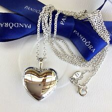 Authentic Pandora Silver Smooth Love Heart Locket CZ Necklace 90cm #390355CZ-90