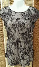 H&M Ladies Black Lace Short Sleeve Peplum Top Size Small