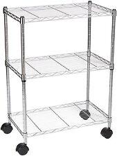 3-Shelf Chrome Plated Stainless Steel Shelving Unit on Wheels Home Office Garage