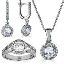 Настоящая 925 серебро бриллиантовое кольцо с подвеской, ожерелье, серьги, ювелирные украшения набор свадебных девочек