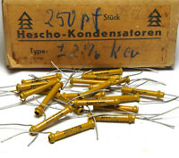 20x Hescho Keramik Röhren-Kondensator von 1943, 250 pF, 2%, 4Din 41345, NOS