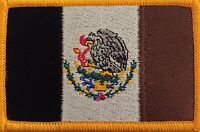 MEXICO Flag Military Tactical Patch W/ VELCRO® Brand Fastener Gold Border II