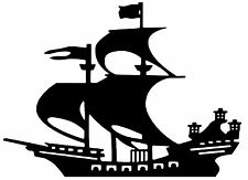 CUT VINYL WALL / CAR DECAL / STICKER, SHIP UNDER SAIL STYLE 2 BOAT PIRATE