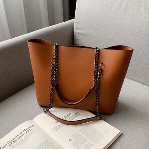 Braun Leder Damentasche Shopper Mädchen Schultertasche Handtasche Tragetasche