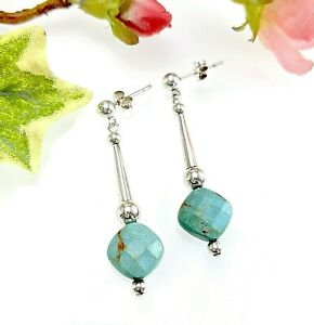 Sterling Silver Faceted Turquoise Bead Drop Earrings