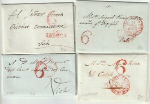 1837/44 4 PRE-STAMP SPAIN LETTERS TO VICH RED POSTMARKS - ESPANA H/S 6 - SPANISH