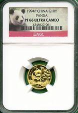 CHINA  PANDA  1994  NGC proof  66  1/10 OZ  GOLD  10 YUAN  minted-864  very low