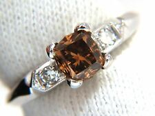 1.12ct natural fancy bright orange brown diamond ring platinum+