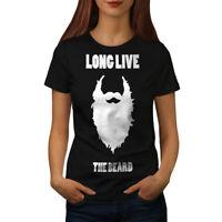 Wellcoda Long Live Beard Womens T-shirt, Funny Casual Design Printed Tee