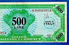 More details for ex rare italy m16b 500 lire military currency wwii english only 1943 xf+/au