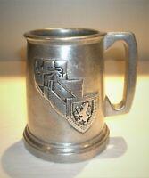 "Vtg Pewter Mug, Tankard. Lion Crest Emblem 5"" tall"