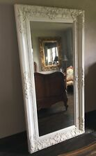 SHABBY CHIC ANTIQUE WHITE ORNATE  FRENCH OVERMANTLE WOOD WALL MIRROR 4FT 3FT