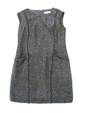 Michael Kors NEW black sequin sleeveless dress w pockets + raw edges VGC UK 12