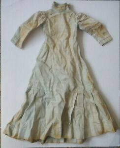 """Antique Drop Waisted Doll Dress Faded Blue 18"""" long for Bisque Doll P1533"""