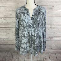 41 Hawthorn Women's V-neck Blouse Sz Medium Gray Tie Dye Long Sleeve