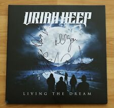 "ORIGINAL Autogramme von URIAH HEEP. pers. gesammelt. VINYL 12"". LIVING THE DREAM"