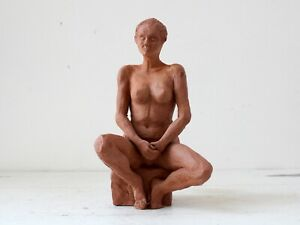 Late 20th Century French Studio Art Clay Sculpture of Seated Female Nude
